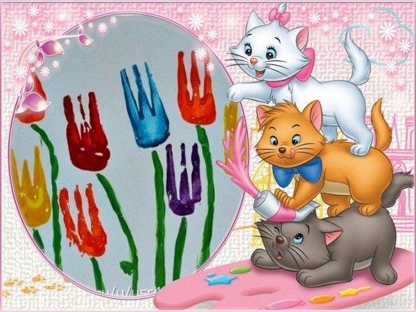 5. Ну а теперь можно использовать все имеющиеся в запасе цвета гуаши. Такой яркий цветник будет отлично выглядеть на поздравительной открытке для мамы, папы или бабушки.