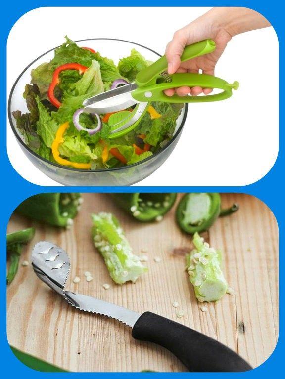 Инструмент из нержавеющей стали для быстрого измельчения салатов, и нож для удаления сердцевины перца.