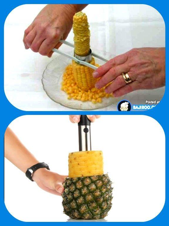 Нож для тех, кому не нравится есть кукурузу с початка, а также инструмент из нержавеющей стали для чистки ананаса.