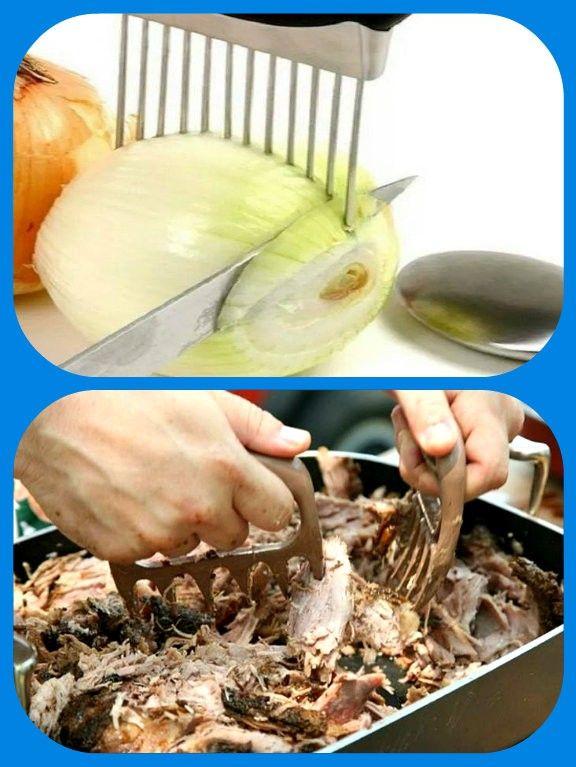 Прибор для нарезки лука, и «когти медведя» для разделки горячего мяса.