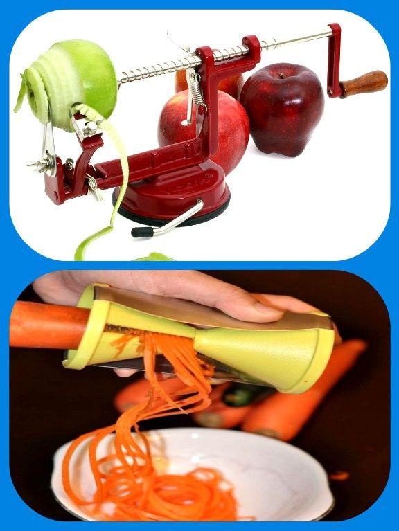 Машинка для очистки овощей и фруктов, и спиральный тесак для нарезки овощей полосками спагетти.