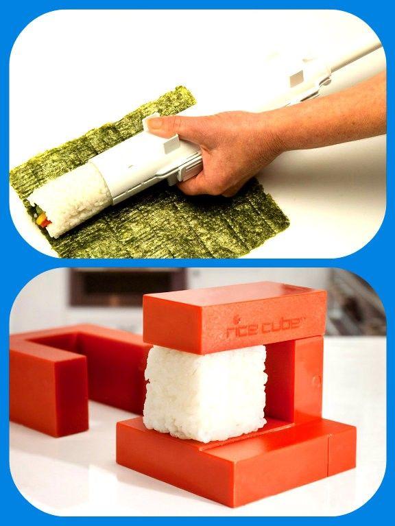 Трубка для приготовления суши, и пресс для кубиков из риса или других мягких продуктов.