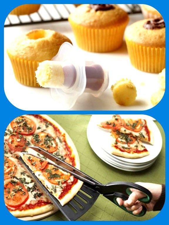 Приспособление для удаления серединки из кексов, и ножницы с лопаткой для пиццы.