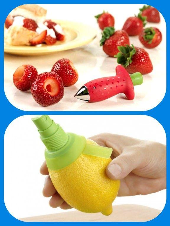 Гаджет для удаления стебельков клубники или помидора, и пульверизатор для лимонного сока.