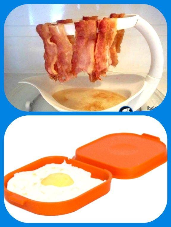 Подставка для запекания бекона в духовке или микроволновке, и форма для приготовления в микроволновке яиц для бутербродов.