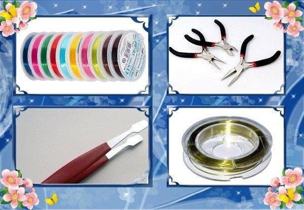 Бисероплетение. Также в арсенале рукодельниц должны быть леска (можно взять рыболовную или леску-резинку), проволока (она также бывает цветной), пинцет, ножнички, кусачки, плоскогубцы и круглогубцы.