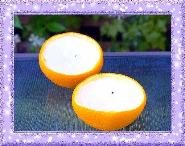 20. Оригинальные подсвечники. Лимон (да и апельсин тоже) можно превратить в аккуратные подсвечники, а эфирное лимонное масло поможет отпугнуть насекомых.
