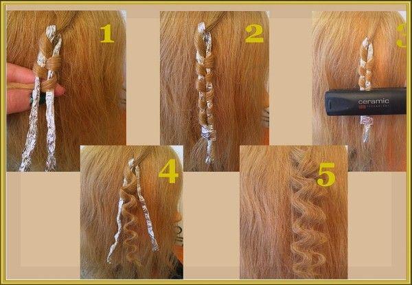 10. Ещё один быстрый способ придать волнистости волосам: заплести косы и пройтись по ним плоской плойкой или скрутить жгутом фольгу, намотать на нее локон и прогреть его утюжком.