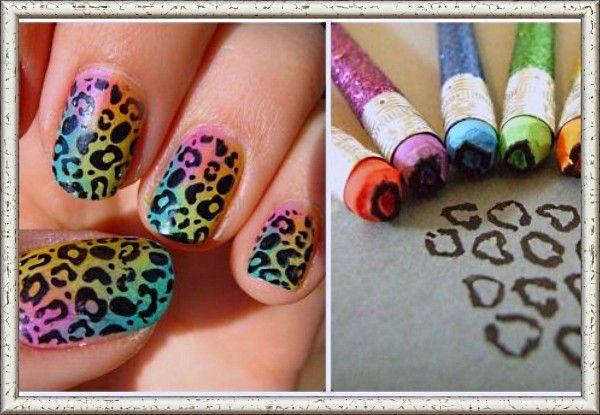 10. Если обрезать ластик на карандаше вот таким образом, то получится самодельный штамп: макаете в чёрный лак и делаете леопардовые рисунки на ногтях.