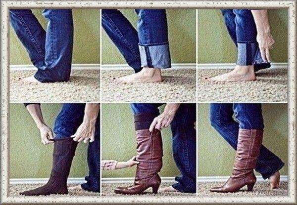 4. Джинсы с широкими штанинами можно легко заправить в сапоги, если сложить низ штанин и заправить их в носки.