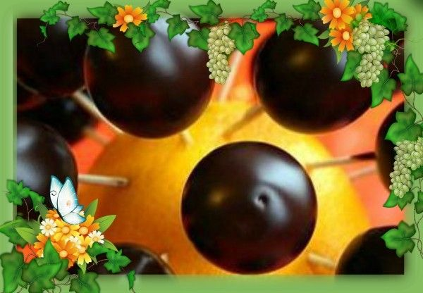 6. Виноград в шоколаде. Продукты: жирные сливки 150 г, шоколад 75 % 150 г, виноград. Приготовление: сливки нагреть до кипения, снять с огня, добавить поломанный на кусочки шоколад и размешивать, пока не получится совершенно гладкая глазурь. Вымытый и обсушенный виноград наколоть на зубочистки и обмакнуть в шоколад, излишки стряхнуть и воткнуть в половинку яблока. Когда шоколад застынет, можно воткнуть в апельсин в шахматном порядке.