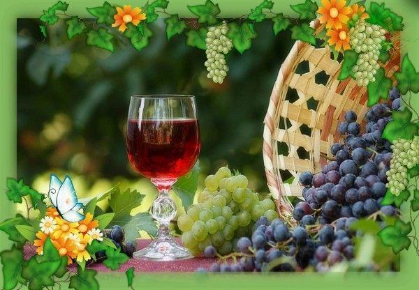 17. Виноградное вино. Продукты: 9-9,5 л. виноградного сока, 2-2,5 кг сахара. Приготовление: Налить виноградный сок в специальную емкость/бутыль, добавить сахар и тщательно перемешать. Установить водяной затвор или надеть на горлышко бутыли резиновую перчатку, предварительно сделав в ней проколы. Оставить бродить 5-ть недель. По истечении указанного срока перелить вино в бутылки, закрыть их пробками и убрать на хранение.