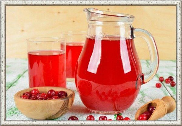 8. Клюквенный напиток. Продукты: 4 ч. л. клюквы, 4 ч. л. фруктозы, 1 ст. л. муки, 200 мл воды. Приготовление: отжать сок клюквы, отжимки варить 5-10 минут, процедить. Бросить в отвар фруктозу, довести до кипения, влить муку, разведённую в холодной воде, отжатый сок. Охладить.