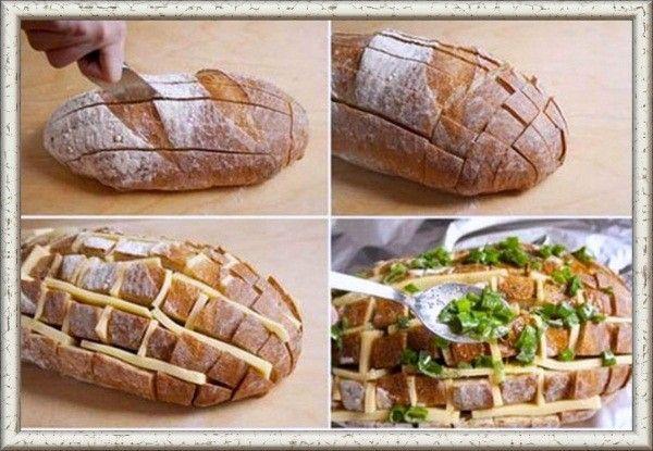 7. Отличное блюдо на скорую руку — сырный хлеб. Нарежьте батон вдоль и поперек острым ножом, не дорезая до конца. В получившиеся ячейки вставьте кусочки твердого сыра, добавьте зелень и поставьте буханку в микроволновку или духовку.