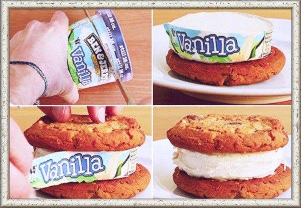 6. Горячий острый нож отлично справится с приготовлением бутербродов из мороженого. Отрежьте кружочек мороженого от стаканчика и поместите между двух печенек.