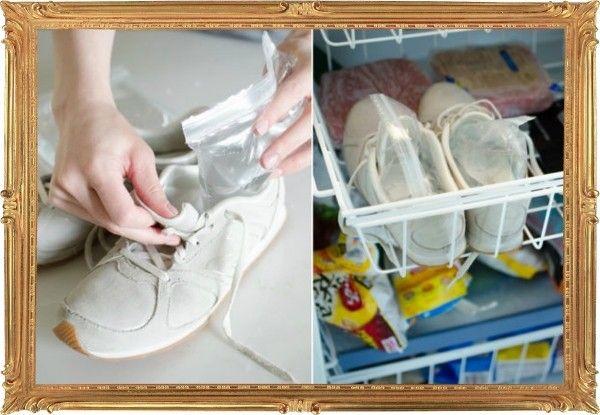 9. Ещё один эффективный способ растянуть узкую обувь – положить вовнутрь пакетики с водой и отправить на ночь в морозилку.