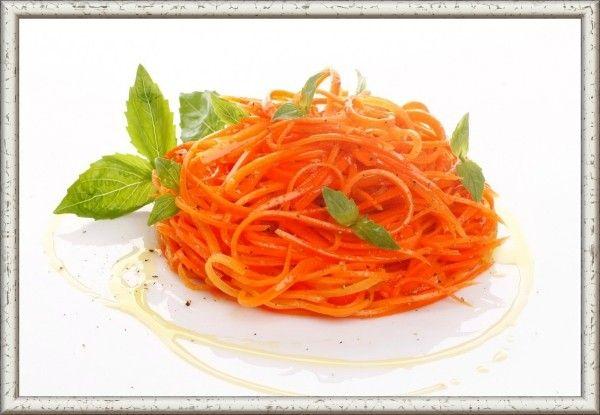 11. Морковь по-корейски. Морковь (1 кг) натереть на специальной терке. Добавить к моркови соль (1.5 ч. л.) и немного помять руками. Затем в середине сделать углубление, добавить сахар (1 ч. л.) и уксус (3 ст. л.). Всыпать все специи: перец черный молотый 0.5 ч. л., перец красный жгучий молотый 0.5 ч. л., паприка сладкая молотая 1 ч. л., кориандр молотый 1 ч. л. Сверху выдавить чеснок (3-5 зубчиков). Разогреть 0.5 стакана постного масла. Вылить горячее масло на чеснок, хорошо перемешать морковь и оставить до полного остывания.