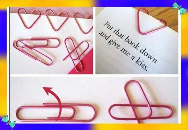 11. Из скрепки можно сделать украшение-сердечко, согнув ее пополам. Получится симпатичная закладка для книги.