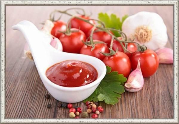 5. Простой томатный соус. Продукты: 400 г томатной  пасты, 6 ст. ложек белого винного уксуса, 6 ст. ложек мелко нарезанного лука, 2 ст. ложекмеда, 2 ст. ложек горчицы, 2 дольки измельченного чеснока, соль и перецпо вкусу. Приготовление: в сковороду налить немного растительного масла и обжарить лук, в самом конце добавить толченый чеснок. Обжаривать в течение 3 минут, после чего добавить все остальные ингредиенты. Приправить солью и перцем по вкусу. Тушить на медленном огне около 15 минут.