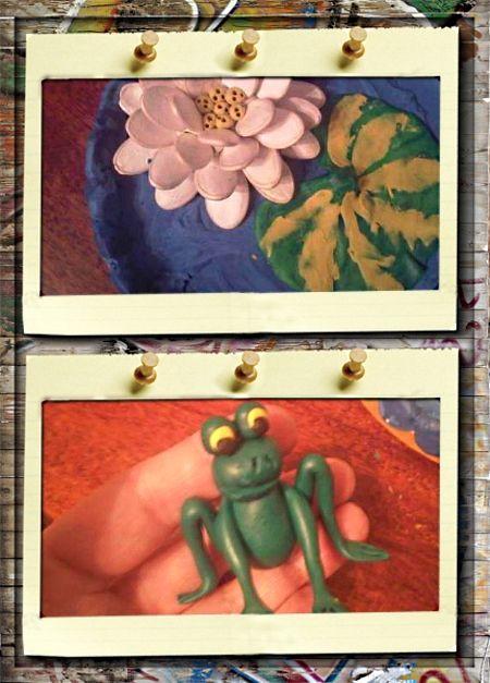 3. Принцесса лягушка. Можно зубочисткой сделать несколько проколов в тычинках кувшинки. А сам лист можно сделать более натуральным, прилепив и растушевав на нем слегка несколько тонких колбасок из пластилина желтого цвета.  Теперь пора приступать к созданию нашей красавицы лягушки.