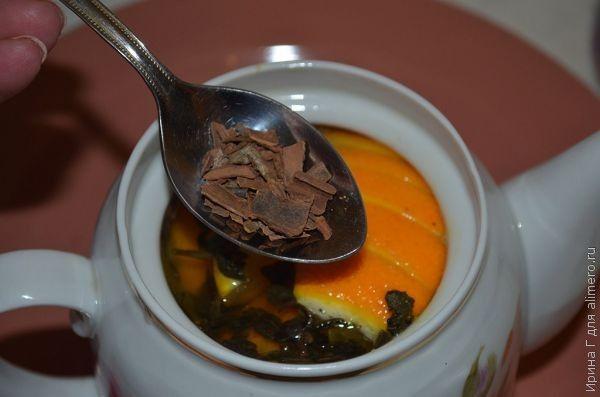 чайный напиток с имбирем и апельсином
