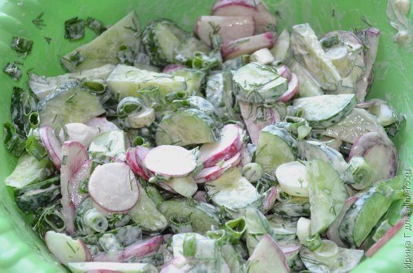 салат из редиса и огурца
