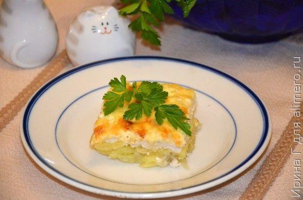 запеченный картофель с куриным фаршем и сыром