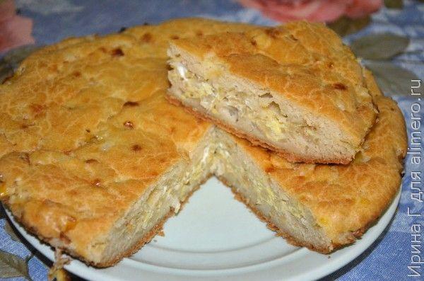 заливной пирог с капустой с манкой