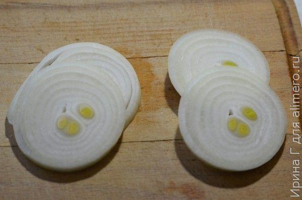 горбуша запеченная с  мандарином и луком