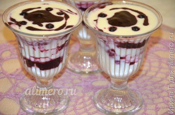 десерт из йогурта с черникой