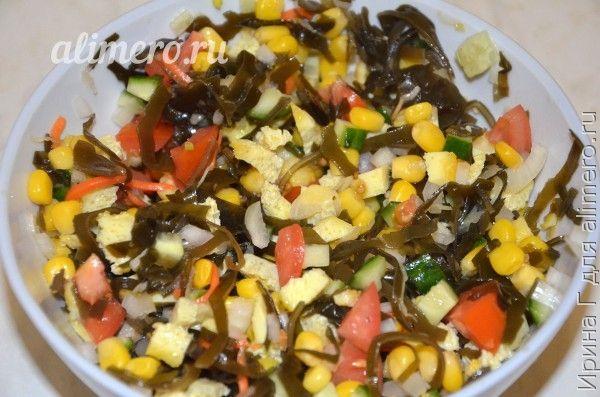 салат из кукурузы с морской капустой