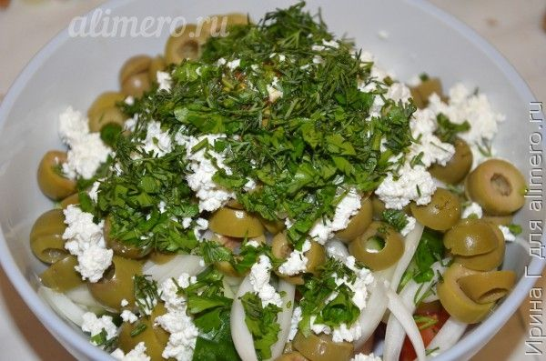 салат с оливками и творогом рецепт