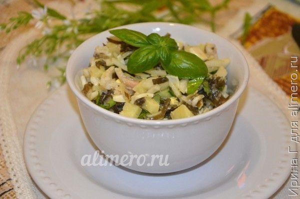 рыбный салат с морской капустой
