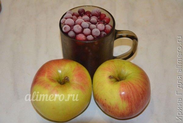 сырое варенье из клюквы и яблок