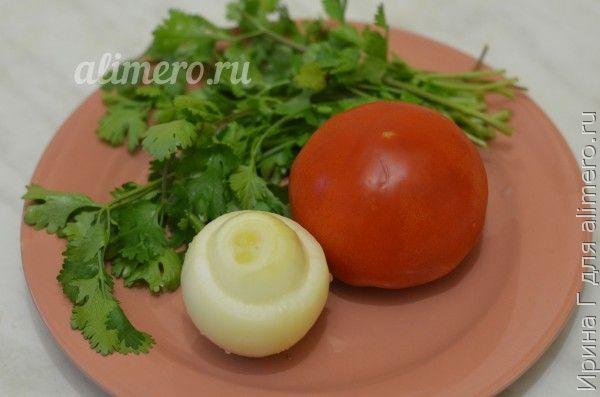 салат из помидоров с кинзой и луком