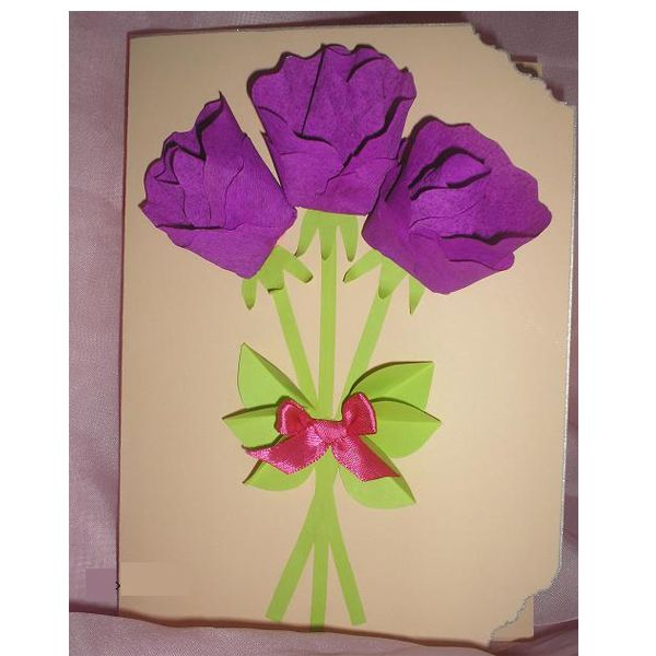 Открытки с гофрированной бумаги к 8 марта, для мамы