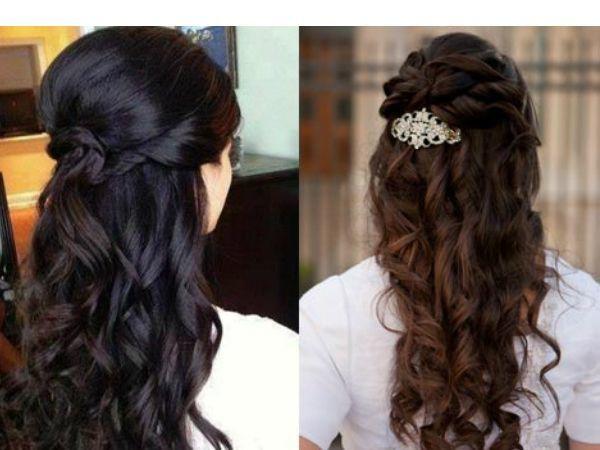Локоны смотрятся очень женственно. Можно собрать волосы сзади и украсить их красивой заколкой.