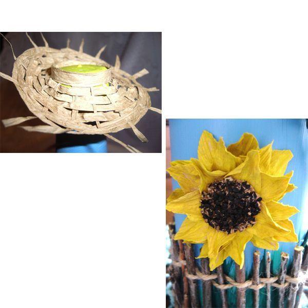 Для плетения шляпки подготовьте соломку или сделайте ее из кусочка ткани. Прикрепите бумажный цветок к поверхности бутылки.