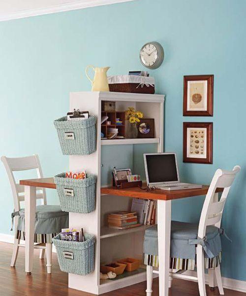 Возможно использование классической мебели с откидными крышками-столиками, и даже письменные столы, которые трансформируются в настенные полки.