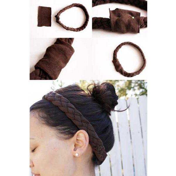 Таким же способом делается повязка на голову (только закройте узлы кусочком ткани). Получается очень интересно.