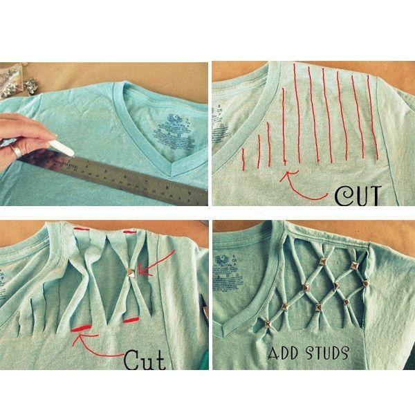 Для работы понадобятся: футболка, металлические заклепки, острые ножницы, мел или мыло для разметки, немного терпения и вдохновения.