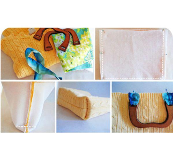 Сумка из старого свитера с подкладкой, внешний вид которой отлично дополняют деревянные ручки (их можно купить в обычном швейном магазине или использовать ручки от старой ненужной сумки).
