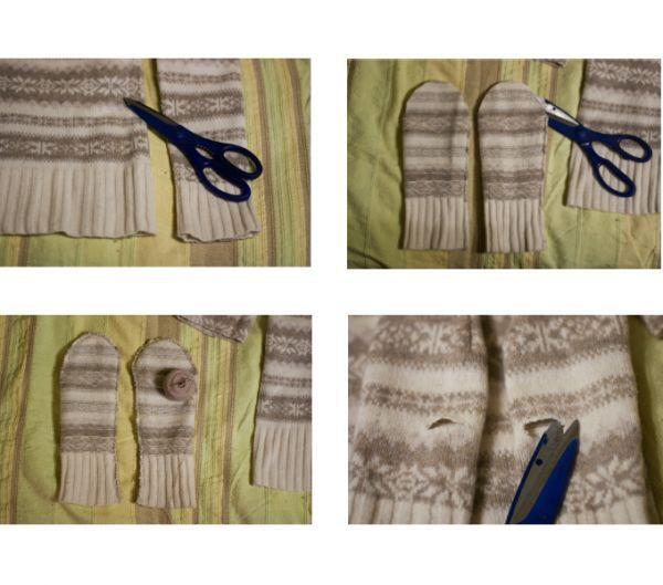 Вырезаем из рукавов формы варежек. Сшиваем их. Выворачиваем их налицо, примеряем. Ищем место для большого пальца.