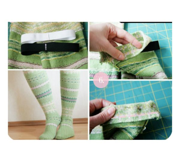 Если выбрать свитер с красивым узором, носочки получатся не только очень теплые, но и красивые! Попробуйте сделать такие и вы!