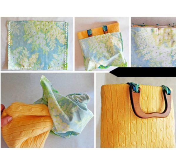 Самым простым вариантом будет обрезать рукава, сделав из свитера майку, и прострочить края (справа снизу на фотографии).