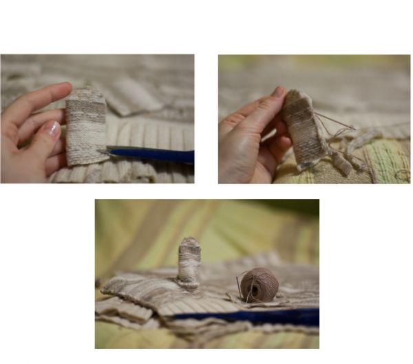 Из оставшегося свитера вырезаем прямоугольнички-заготовки для пальца. Сшиваем, как показано на фото, и пришиваем к варежке.