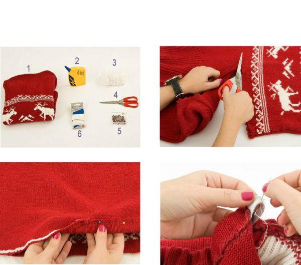Вам понадобятся: свитер, булавки, нитки, иголка, резинка, ножницы. Времени понадобится совсем не много!