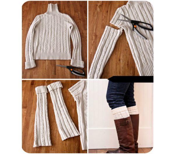 Предельно просто сделать из старого свитера новые гетры: нужно всего лишь отрезать рукава и прострочить отрезанный край для аккуратного вида готового изделия.