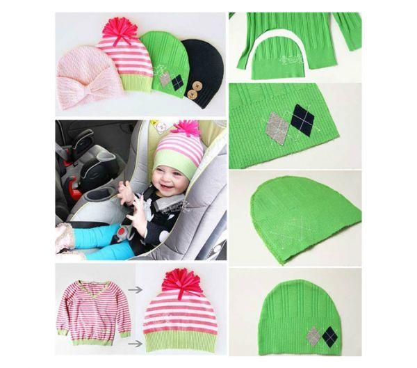 На этом изображении показано, как очень просто можно сделать очень даже классные шапки из старого свитера для малышей и для себя любимой. Декорируйте их пуговицами, стразами или бусинами (умеренно!) или помпонами, которые можно сделать из пряжи своими руками.