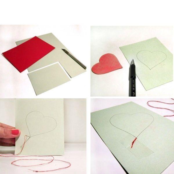 Для работы лучше брать плотный картон, чтобы открытка не мялась и выглядела более опрятно. Также вам понадобится умение шить на швейной машинке.